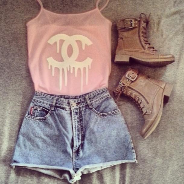 shirt chanel pink tank top