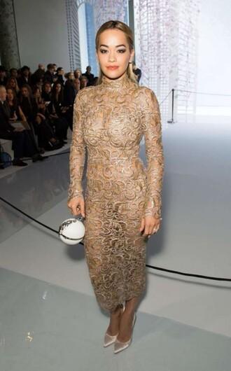 dress gold gold dress midi dress lace dress pumps rita ora gown bodycon dress clutch fashion week 2016 haute couture