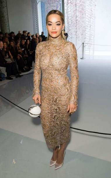 dress, gold, gold dress, midi dress, lace dress, pumps, rita ora ...