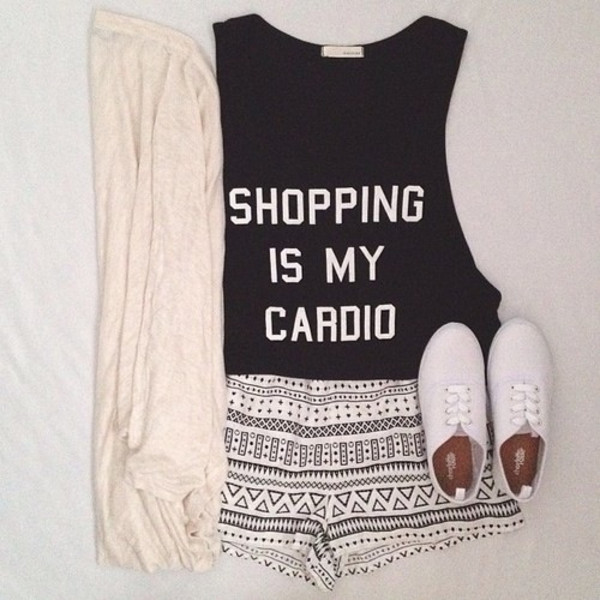 shirt shopping is my cardio black crop tops top shopping graphic tee shorts