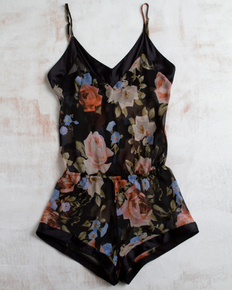 dress floral romper black silk jumpsuit jumper floral jumper playsuit flora pretty cute summer summer dress floral. blouse flowers, print, dark, shorts