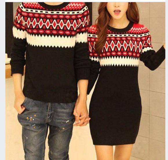 red dress christmas sweater holiday season style dress sweater