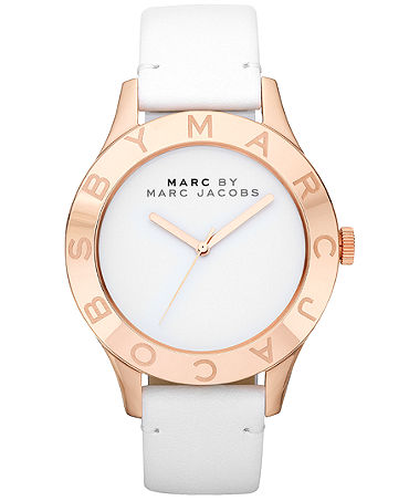 Marc by marc jacobs watch, women's white leather strap 40mm mbm1201
