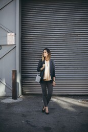 take aim,blogger,jacket,jewels,casual,grey jeans,blouse,jeans,shoes
