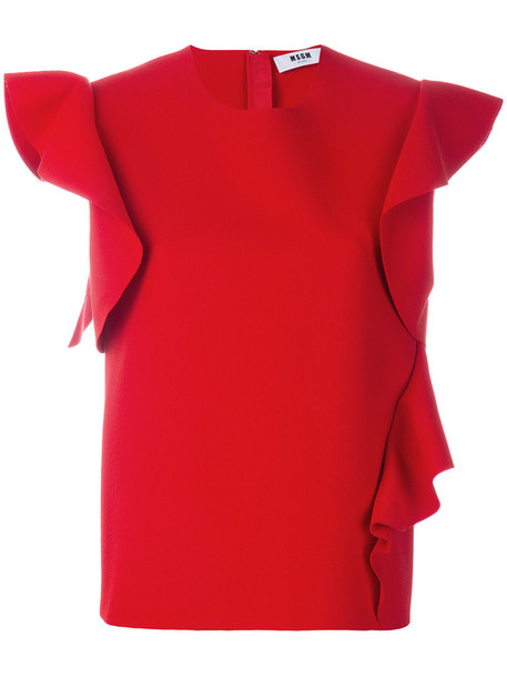 MSGM top ruffle women spandex red