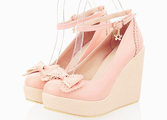 stars bows bow lolita shoes pink pastel pastel pink wedges cute kawaii nude