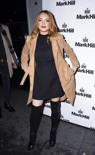 coat trench coat lindsay lohan boots dress fall outfits camel