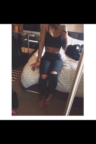 shirt lace crop tops cute pants ripped jeans jeans