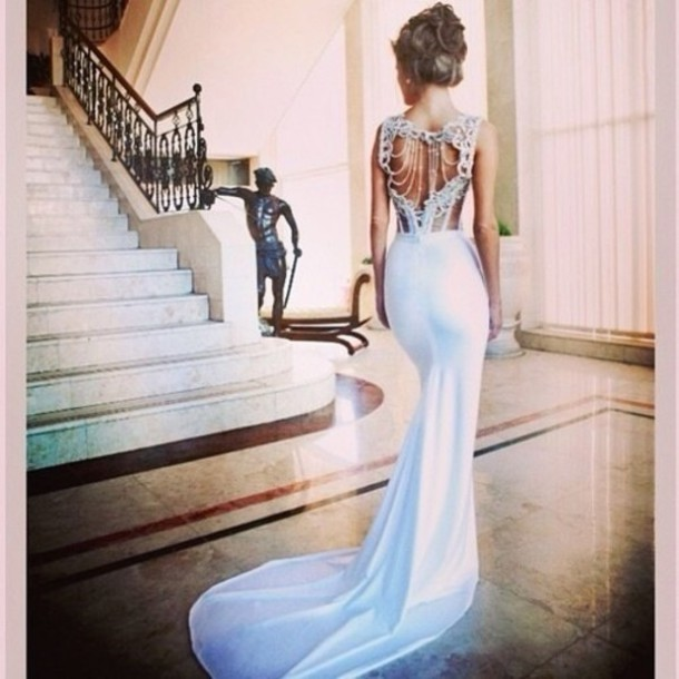 Dress wedding prom white elegant classy long long prom for Wedding dresses with pearls and diamonds