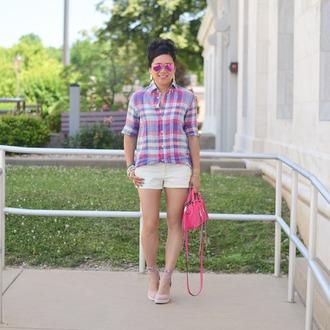 morepiecesofme blogger sunglasses bag top jewels shorts shoes handbag summer outfits pink bag plaid shirt