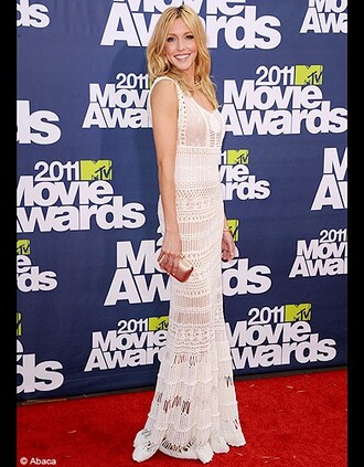 katie cassidy mtv movie awards white dress dress