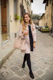 shoes,charlotte olympia,pink coat,max mara,prada,prada bag,black dress,blogger