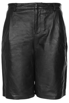 Black Leather Longline Shorts - Topshop