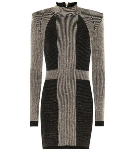 Balmain Metallic knitted minidress