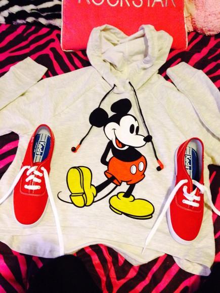 disney hoodie mickey mouse hoodies gray hoodie keds red