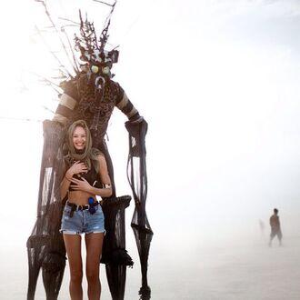 shorts denim shorts blue shorts candice swanepoel celebrity model burning man burning man clothing festival music festival