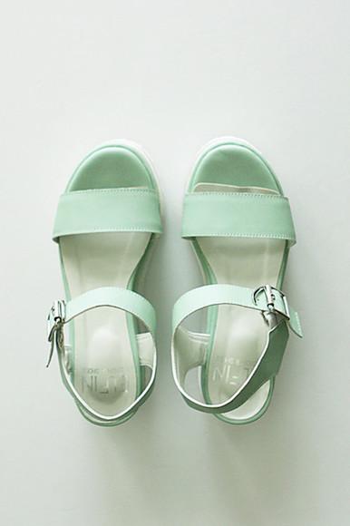 pastel flatforms sandals platform shoes platform sandals teal pastel green japanese streets japanese korean fashion japanese fashion