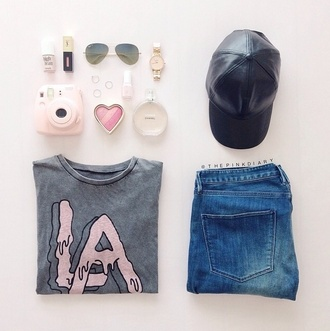 shirt sweater jeans grey sweater pink letters sweater hat jewels shorts sunglasses
