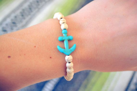 Nautical anchor bracelet beachy boho arm candy hippie stretchy bracelet teal turquoise anchor jewelry elastic howlite beach anchor bracelet