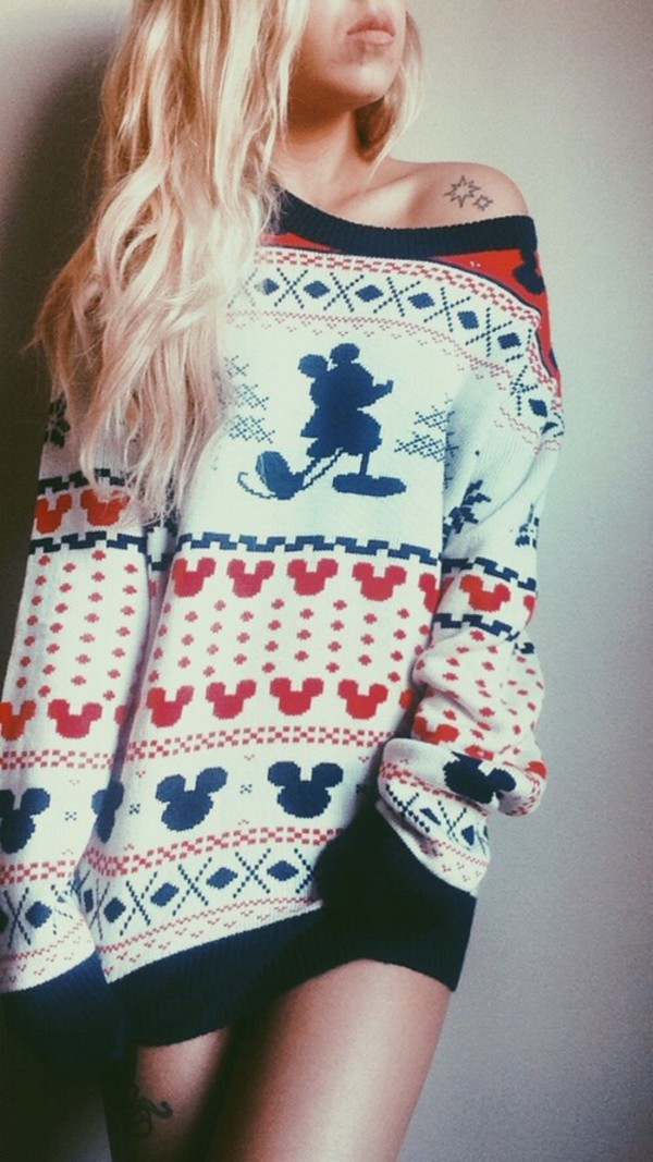 Mickey Mouse Fair Isle Crew Neck Sweater - Urban Outfitters