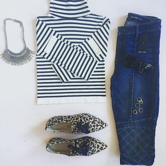 shoes divergence clothing leopard shoes croptee skinny jeans stripe crop tee fashion leopard print leopard flats loafers striped shirt