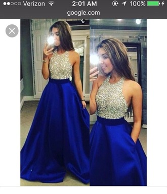 dress blue prom dress halter top dresses with pockets blue silver gown