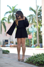 madison lane,blogger,romper,sunglasses,jumpsuit,skirt,black romper