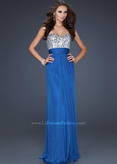 Blue rhienstone top strapless long crisscross back prom dress 2014 [la femme 17909 blue]