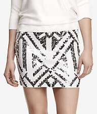 HIGH WAIST SEQUINED MINI SKIRT | Express