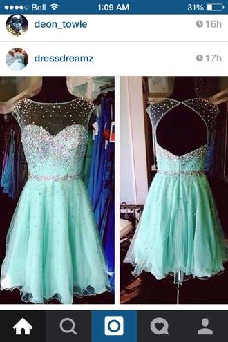 dress graduation mint dress crystals short prom dress blue dress graduation dress prom dress