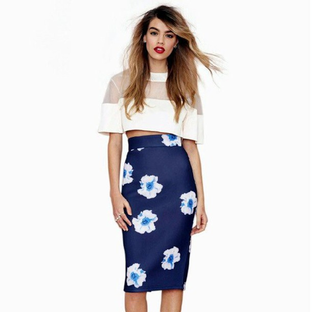 Skirt: blue, navy, dark blue, floral, empire skirt, midi skirt ...