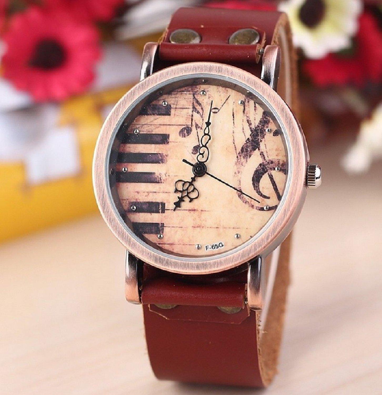 Amazon.com: women's retro leatheroid band round dial piano notes printed quartz wrist watch: watches