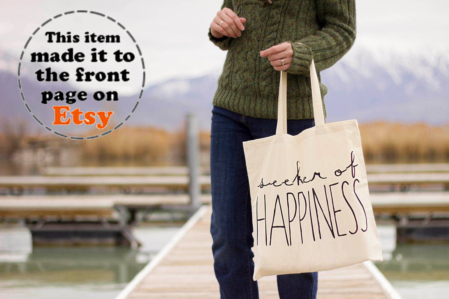 Seeker of Happiness - Canvas Tote Bag (You Choose Handle Color)