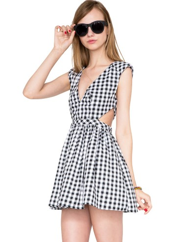 Gingham Skater Dress - Black And White Dress -$56