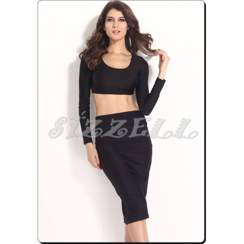 sleeved crop top w high waisted form fitting skirt set