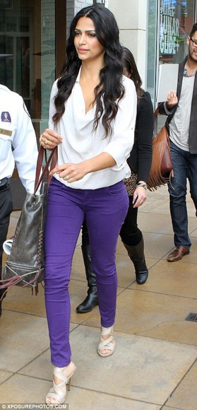 purple pants camila alves white blouse high heels