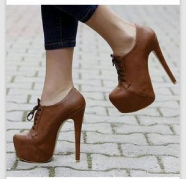 shoes dark brown heels ankle boots high heels brown booties