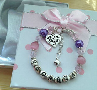jewels braclets pink purple bow pink bow friendship bracelet heart dots