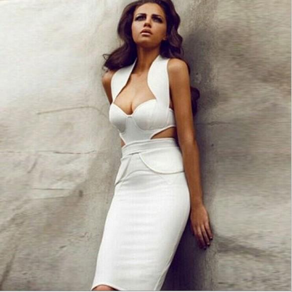bodycon dress sexy dress prom dress sleeveless package hip hanging neck dress