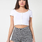 Floral print four-way stretch twill high-waist cuff short | american apparel