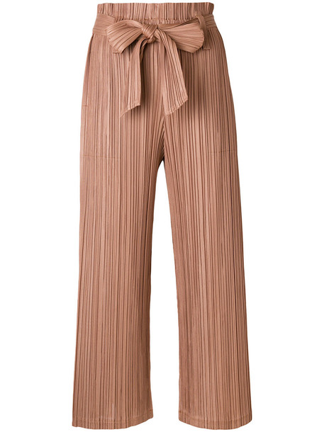 Pleats Please By Issey Miyake cropped high women brown pants
