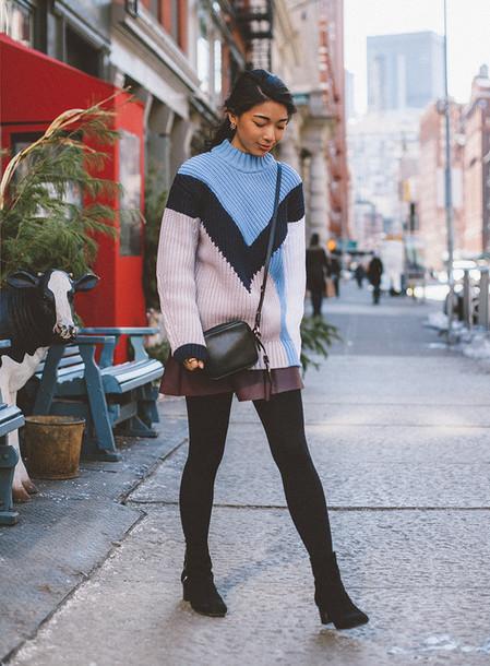 honey n silk blogger skirt knitted sweater
