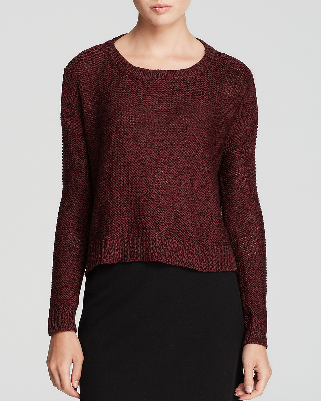 AQUA Sweater - High/Low Marled Crewneck Pullover | Bloomingdale's