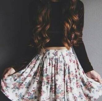 skirt white cute love beautiful outfit dress flowers flowered skirt