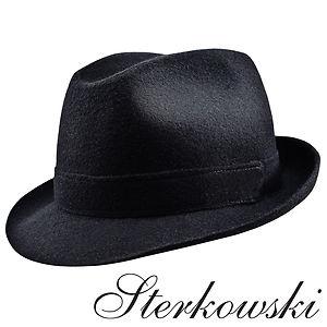 Black woolen trilby fedora hat sterkowski 1924 various sizes xl us 7 5 8