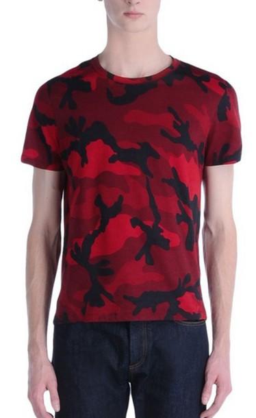 Shirt Camouflage Red T Shirt Print T Shirt Valentino