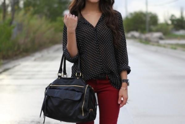 polka dots white black red bag jeans blouse