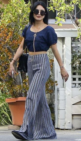 pants wide-leg pants stripes striped pants vanessa hudgens crop tops sunglasses necklace jewels