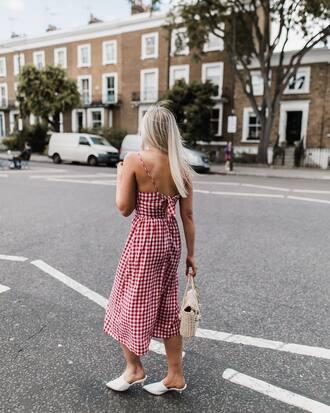 dress tumblr red dress gingham gingham dresses midi dress shoes mules summer dress