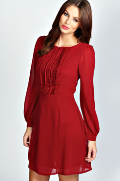 Isabel Long Sleeve Chiffon Fit and Flare Dress at boohoo.com